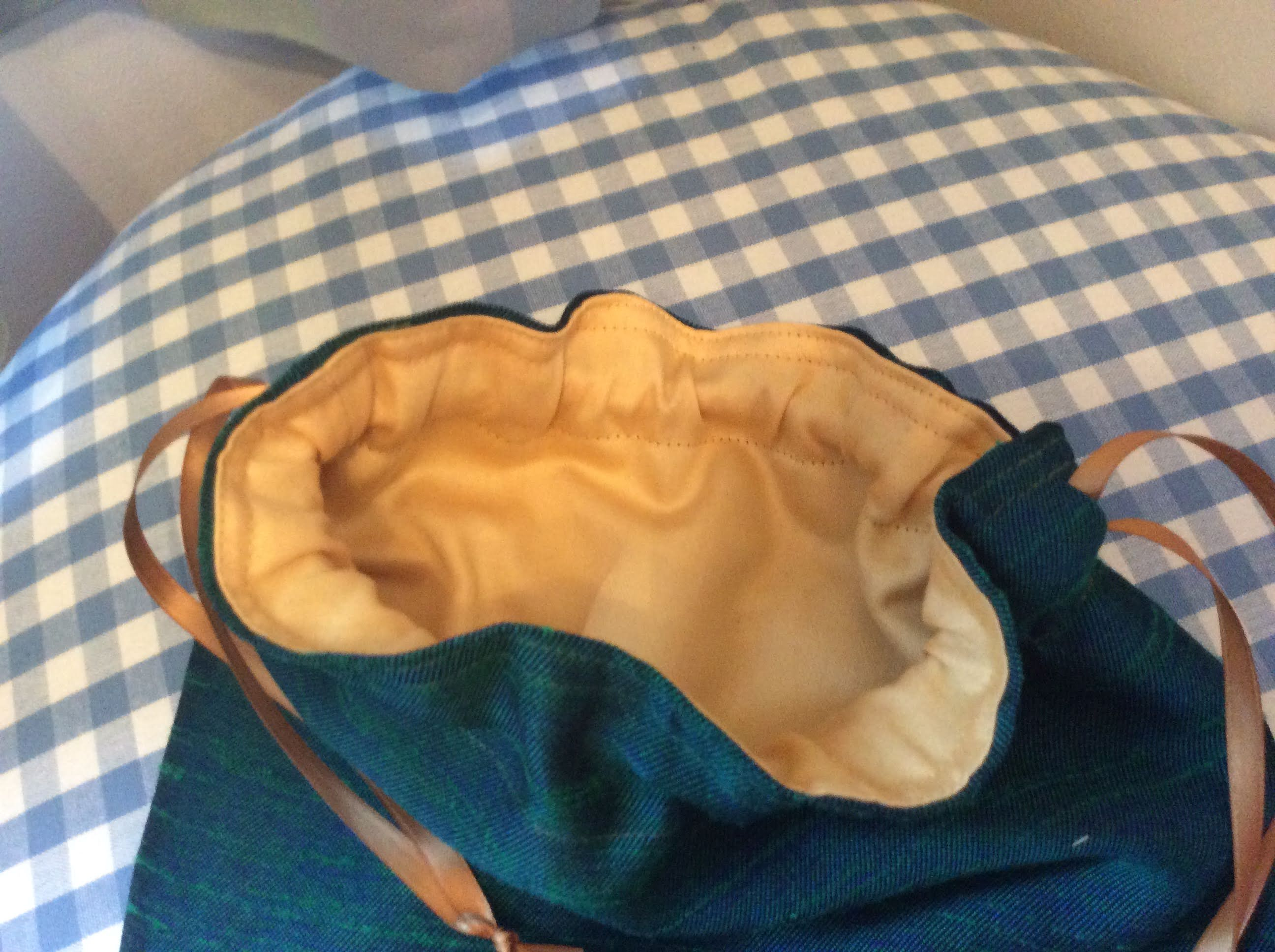 Drawstring Bag - turquoise and gold