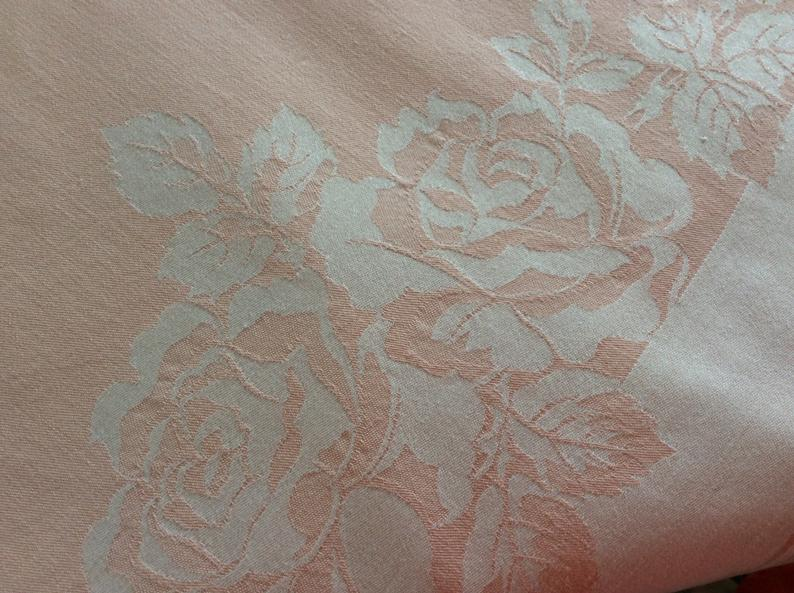 Vintage Damask Tablecloth - peach