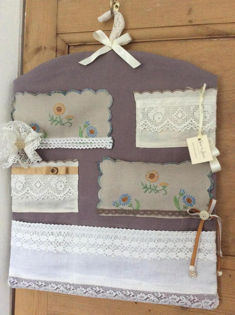 Wall Hanging - grey with pockets