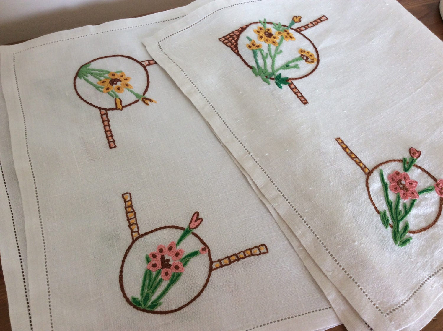 Embroidered Tray Cloth - yellow and pink corners