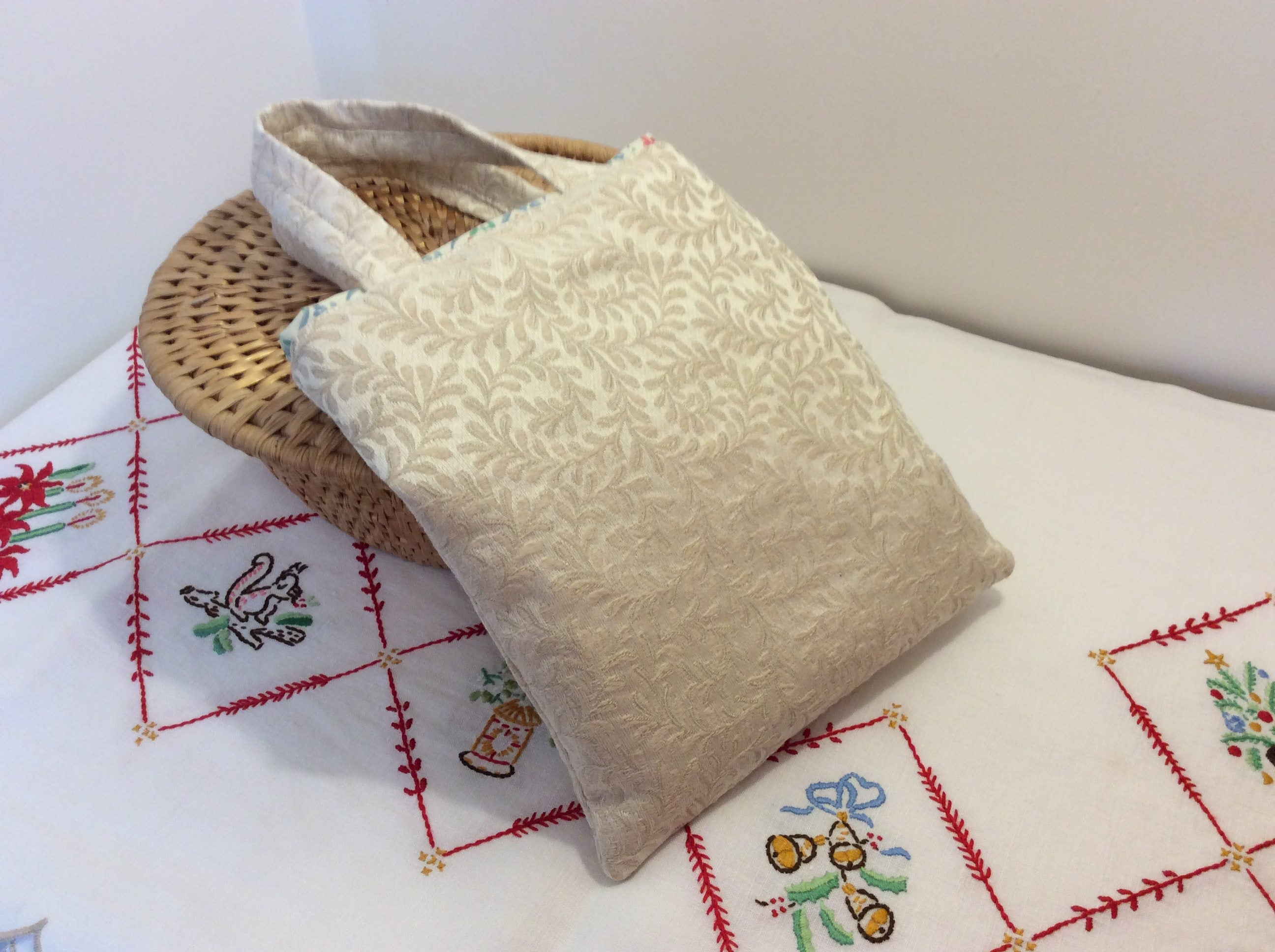 Small Tote Bag - cream and flowers