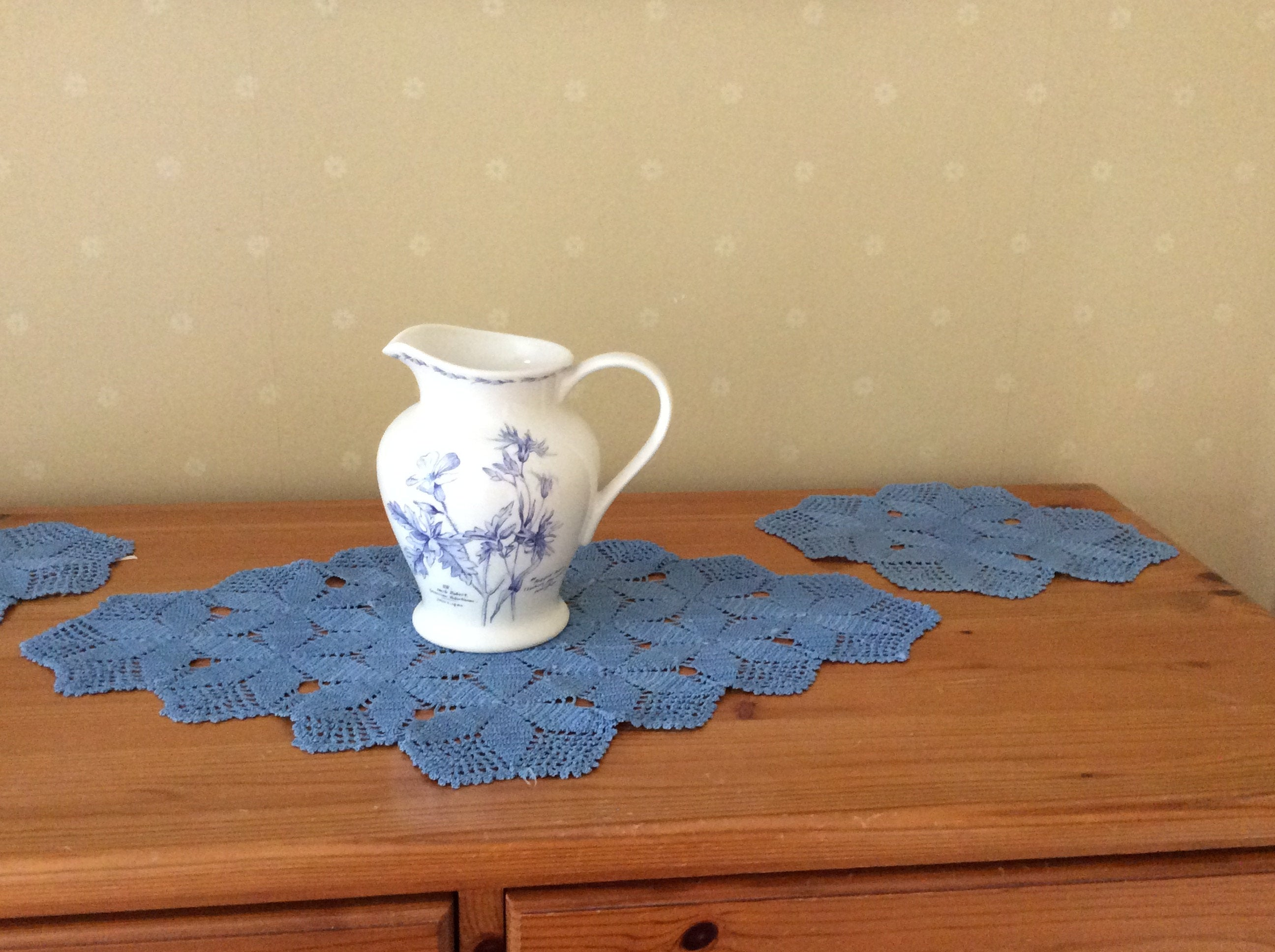 Crocheted Dressing Table Set - blue
